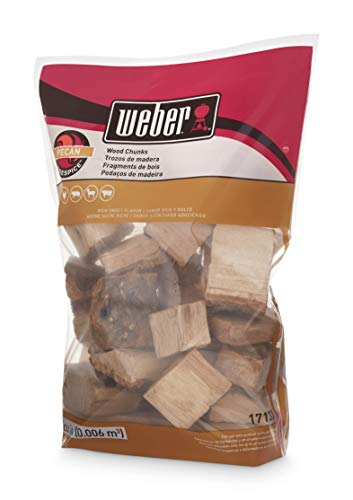 Weber 17137 Pecan Wood Chunks, 350 cu. in. (0.006 Cubic Meter), 4 lb