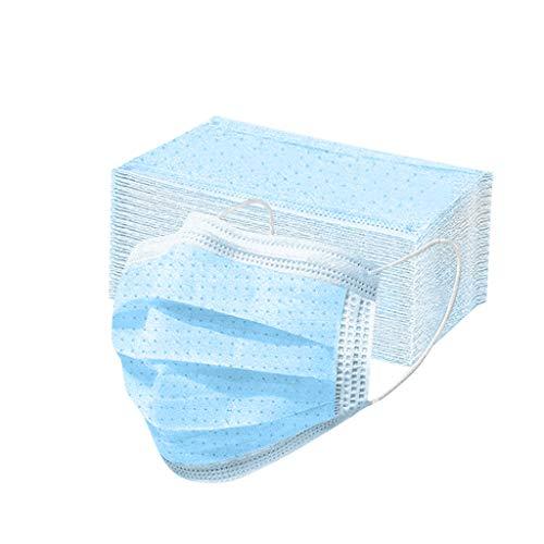 100pc Einweg Mund und Nasenschutz, Einweg- staubdicht,Mann und Frau bunt für Erwachsene2-lagig Face-Mouth Cover Sommerschal (100pc-Blau)