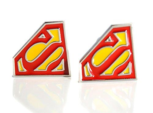 Beaux bijoux – Manchettes – Super Héros Superman T-shirt pour homme manchette Paire – Jaune et Rouge