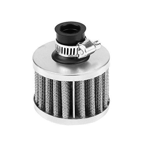 Keenso 13mm Auto Luftfilter, Universelle Auto Luftansaugfilter-Kit Pilzkopf Kurbelgehäuse Entlüftungsabdeckung für Fahrzeuge mit 13mm Lufteinlass (Silber)