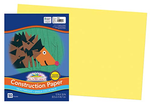 SunWorks Construction Paper, Yellow, 12' x 18', 50 Sheets