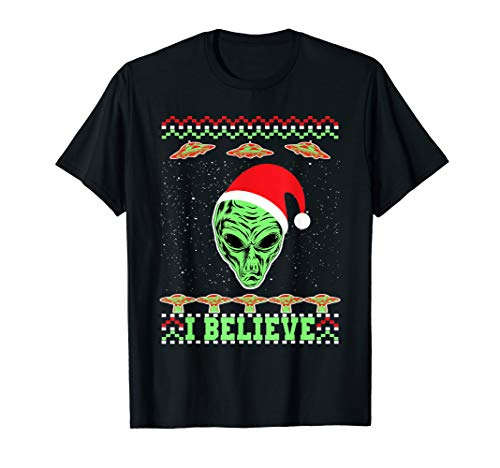 I Believe In Aliens Ugly Christmas T-Shirt