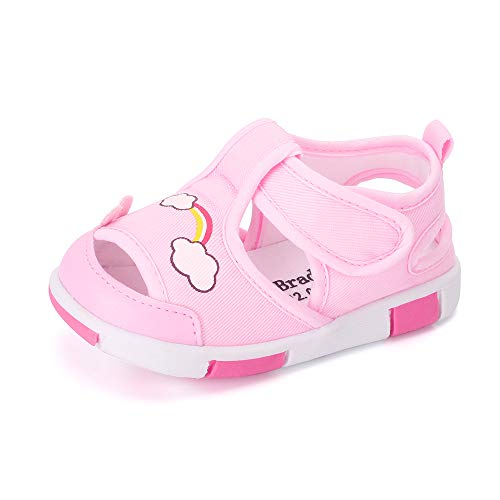 Baby Shoes Boys Girls First Walkers Sandals Cute Animals Toddler Sneakers Prewalkers Rubber Sole Pink Rainbow 9-12 Months