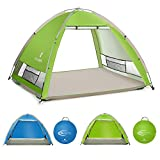 SGODDE Large Pop Up Beach Tent New Large Anti UV Sun Shelter Tents Portable Automatic Baby Beach Tent Instant Easy Outdoor Cabana for 4-5 Persons for Family Adults Light Green