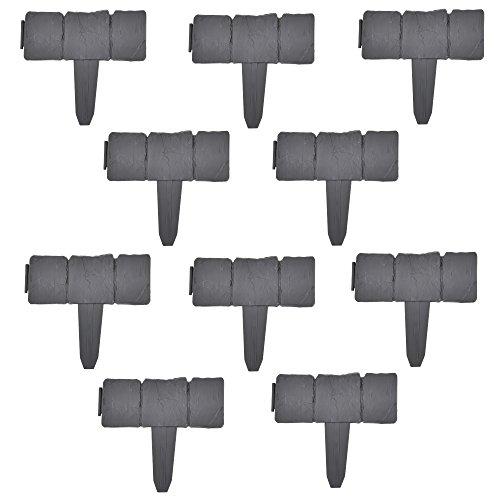 casa.pro 10er Set Palisade Grau mit Steinoptik Länge 250cm Beetumrandung Rasenkante