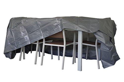 Chalet et Jardin B250*200*90-90-S Housse de Protection pour Table Rectangulaire avec Chaise Plastique TITANIUM® Argent 250 x 200 x 90 cm
