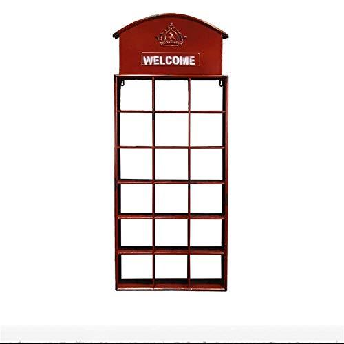 LHSUNTA Estante de Pared Cabina de teléfono de Hierro Forjado Vintage Estante de Cuadros de Pared Bar Café Decoración de Pared Estante para Colgar en la Pared Decoración Suave (Color: Rojo)