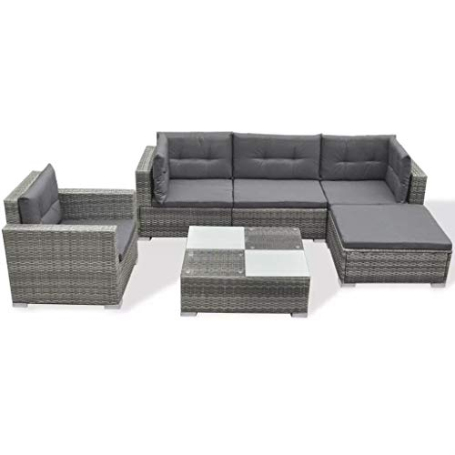 vidaXL Garden Lounge Set 17 Pieces Poly Rattan Grey Outdoor Patio Sofa S