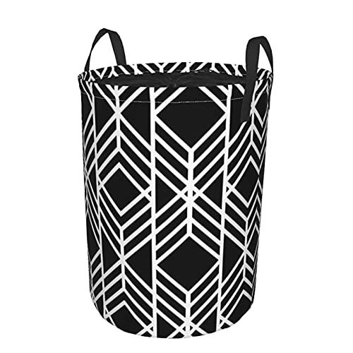 Repetir triángulo lineal circular lavandería con mango cesta de almacenamiento redondo impermeable plegable hogar para dormitorio, baño S