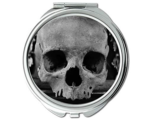 Yanteng Spiegel, Kleiner Spiegel, Totenkopf mit gekreuzter Knochen, Taschenspiegel, 1 x 40-fache Vergrößerung