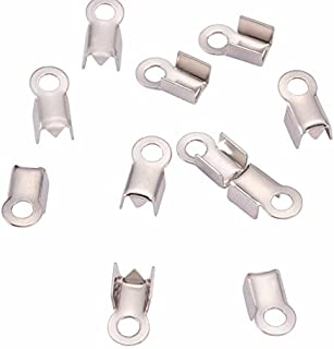 Silver Fold Over Glue Crimp Cord End Pieces Chain Cups with Loop for Jewelry Making-(3mm- 3.2mm)
