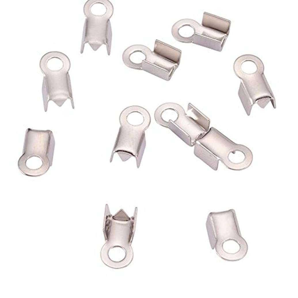 500pc Silver Fold Over Crimp End Caps Pieces- Jewelry Connectors With Loop- (6 x 3mm)- Fits Up To 2.6mm