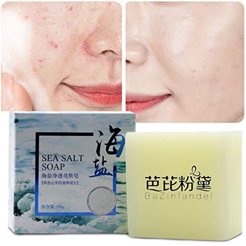 Savon Sel de Mer, KISSION Enlèvement de nettoyant à base de sel de mer Pimple Pores Traitement de l'acné Lait de chèvre Savon hydratant pour le visage