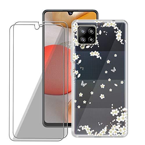 TIANDIMY Funda para Samsung Galaxy A42 5G + [2 Piezas] Cristal Templado (6.60 Pulgadas), Carcasa Transparente Protectora Cases Silicona Suave TPU Case Cover Bumper y Protectora Pantalla Film -TD14