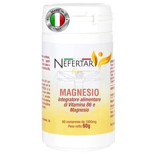 Nefertari Line Magnesio Vitamina B6 - 60 Compresse da 1000mg per 2 Mesi - Integratore Made in Italy
