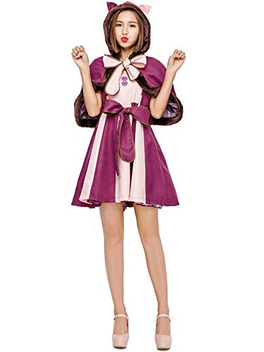 SVFD Halloween Kostüm Erwachsene Alice im Wunderland Lila Schmollkatze Smiley Cat Costume Purple-M