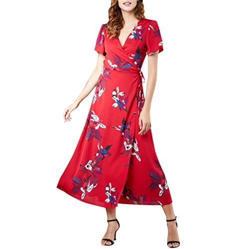 Women's Spaghetti Sundress,Women's Floral Summer Dress Casual Short Sleeve V Neck Print Party Dress Sundress Red