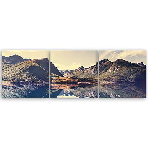 hochwertiges Leinwandbild Panorama Naturbilder Landschaftsbilder - Norwegische Berglandschaft - Norwegen Bild Natur Berg See - 120 x 40 cm mehrteilig (3 teilig) 2213 L