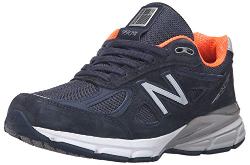 New Balance Women's Made 990 V4 Sneaker, Navy/Orange, 5 B US