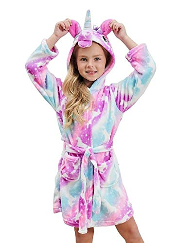 DRESHOW Soft Unicorn Hooded Bathrobe Sleepwear - Unicorn Gifts for Girls