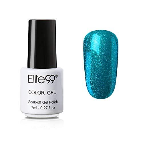 Elite99 Smalto Semipermente per Unghie in Gel UV LED Smalti in Gel per unghie Colori per Manicure Mini Formato Soak Off Sogno Blu 7ML - 017