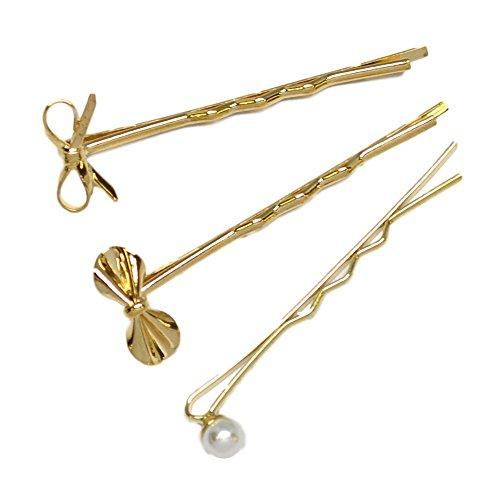 (ヴィラジオ)Viragio ヘアピン 3個セット 髪留め 前髪 髪飾り シンプル ゴールド ヘアアクセサリー ヘア クリップ ブランド vi-1296 (ゴールド)