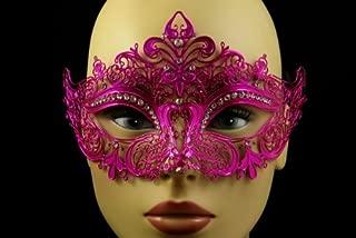 Laser Cut Venetian Halloween Masquerade Mask Costume Extravagant and Elegant Finely Detailed Inspire Design - Hot Pink w/ Rhinestones