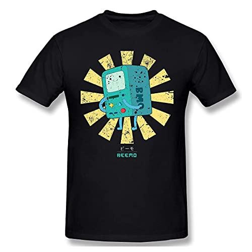 Beemo RetroAnime Clothes Design Adventure Time Series Anime Manga 100% Cotton Men T-Shirt Black Black 3XL