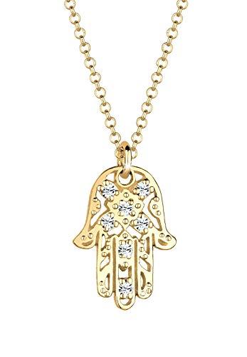 Elli Collares para mujer colgante La Mano de Fátima con cristales en plata de ley 925