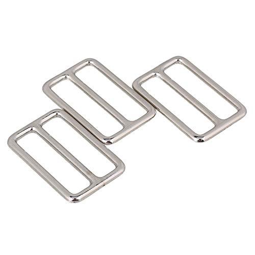 10Pcs Metal Tri-Glide Slides Buckles Kit 38mm, Tri-Glide Slides Square Ring Slide Adjusters Buckles Webbing Belts Buckle for Belt Bags DIY Accessories
