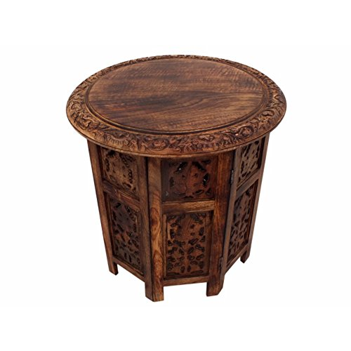 The Urban Port UPT-148946 Solid Wood Handcarved Folding Accent Coffee Table, 18 Inch Round Top x 20 Inch High, Brown