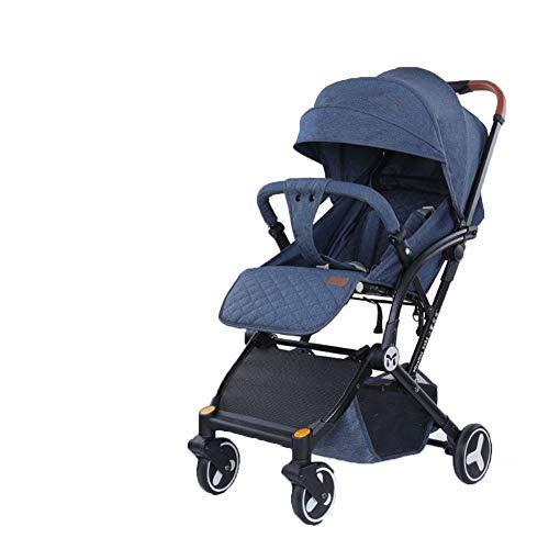 DYFAR Vierrad-Kinderwagen mit Einhandklappung, klein zusammenklappbar, Buggy mit Liegeposition, höhenverstellbarer Schiebegriff, von Geburt an bis 25 kg, Blue