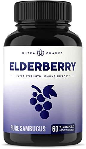 Elderberry Capsules 11,550mg - Premium Supplement for Powerful Immune System Support - Black Elder Berry Extract Nigra Antioxidant Vitamin - 60 Vegan Pills