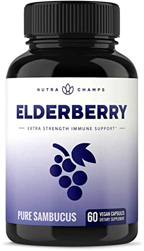Elderberry Capsules 11,550mg - Premium Supplement for Powerful Immune System Support - Black Elder Berry Extract Nigra Antioxidant Vitamin - 60 Vegan Pills