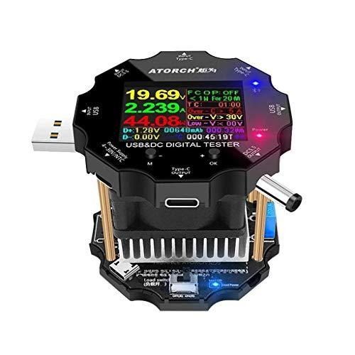 Sixcup Color APP Batterietester,Elektronische Battery Tester Last 18650 Kapazitätsmonitor Anzeige Entladung Ladung USB Meter 12V Netzteil Checker (Black)