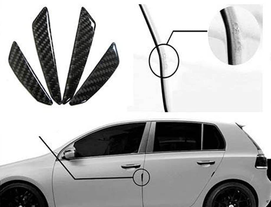 iJDMTOY Black Real Carbon Fiber Car Side Door Edge Protection Guards Trims Stickers