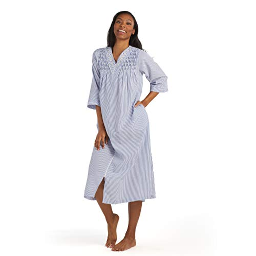 Miss Elaine Women's Seersucker Long Zipper Robe - with 3/4 Sleeves, Breakaway Zipper, and Embroidery (2X, Navy/White Stripe)