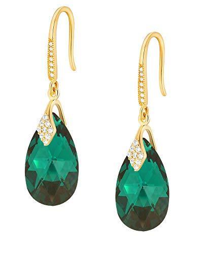 Crystals & Stones – Ganchos de plata 925 / chapado en oro 24 K – Emerald – Pendientes con cristales de Swarovski – Bonitos pendientes para mujer – Pendientes con caja de regalo gratis