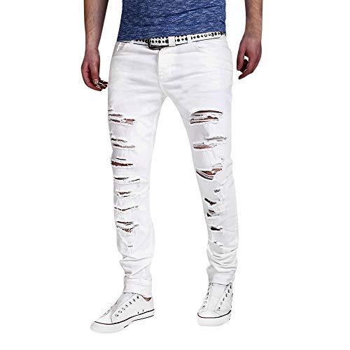 Pantalones de Deporte Hombre LANSKIRT Jeans Rotos Pantalon Jogger Ajustados Hole Otoño Algodón Patchwork Pants Deportes Correr Gimnasio Pantalones de Chandal Hombre