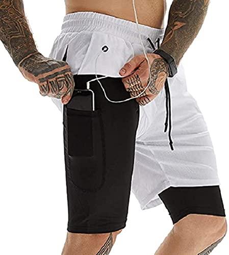 UMIPUBO Pantaloncini Sportivi Uomo, Estate 2 in 1 Pantaloncini da Palestra Fitness, Shorts Tasche Incorporata Pantaloni Corta con Tasche Foro per Cuffie(WH,M)