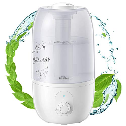 Ultrasonic Humidifier for Bedroom, Kealive 30-Hour Cool Mist Humidifier(2.7L/0.7G), Baby-Safe Auto-Shutoff, Whisper Quiet, 3-Level Mist Output, Rapid Humidification Effect, Dirt-Resistant Nano Coating