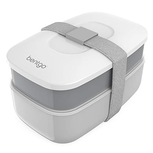 Bentgo Classic - All-in-One Stackable Bento Lunch Box Container - Sleek and Modern Bento-Style Design Includes 2 Stackable Containers, Built-in Plastic Utensil Set, and Nylon Sealing Strap (Gray)