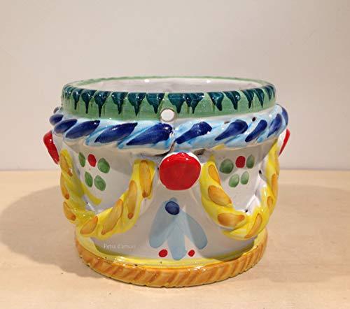 Petra d'amuri Cachepot - Soporte para plantas decorado de cerámica siciliana de Santo Stefano de Camastra Hand hecho en Sicily