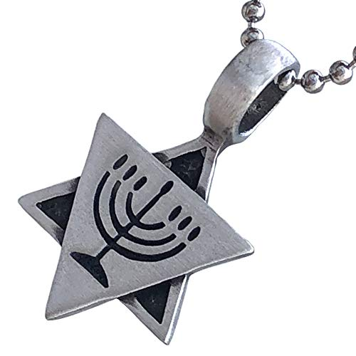 Star of David Seal of Solomon Jewish Jews Menorah Hanukkah Lamp Judaism Jewelry Protection Amulet Pewter Men's Women's Pendant Necklace Charm for men women boys girls unisex w Silver Ball Chain