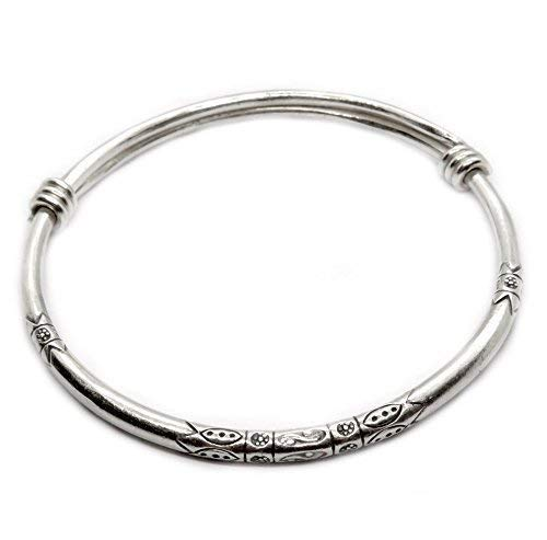 Sterling Silver Thick Solid Handmade Boho Bangle Bracelet, Adjustable to 7' - 8.5',With Symbolic Engravings, Ethnic Tribal Rounded Bracelet Bangle for Women or Men, Gift for Her or Him