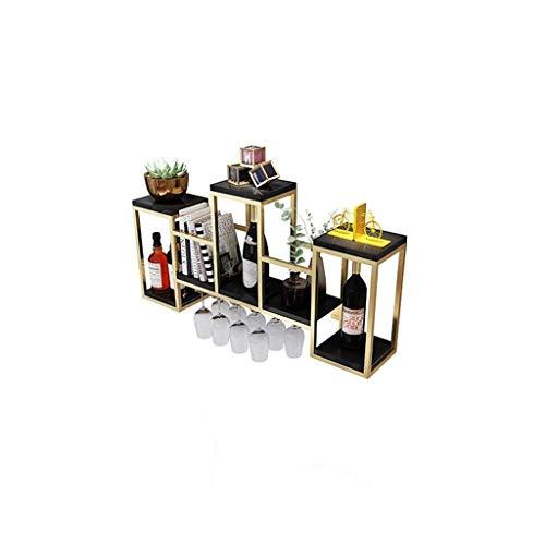 GUOF Estante de Vino de Pared Estante metálico para Vino, botellero para la Cocina. Portavasos (Color : Black)