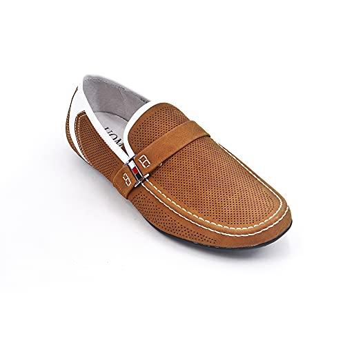 Uomo Design Vincent II - Mocasín para hombre perforado, Amarillo (marrón claro),...