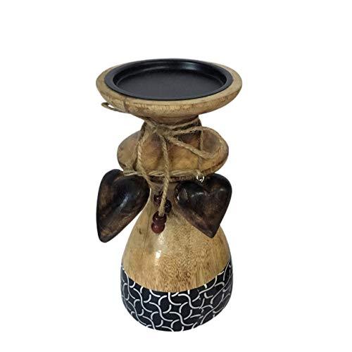 Soma Kerzenständer klein mit 2 Deko Herzen H 20 cm Mangoholz mit Keramikdekor 9 x 20 x 9 cm schwarz/weiß