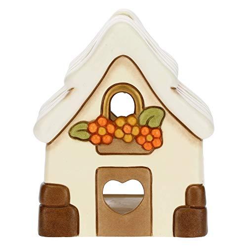 THUN - Porta Candela a Forma di Casetta - Decorazioni Natale Casa - Ceramica - 10 x 9,5 x 11 h cm