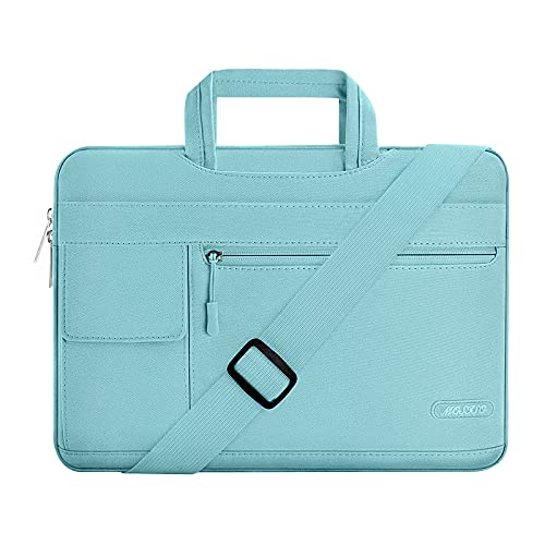 MOSISO Laptop Shoulder Bag Compatible with MacBook Pro 16 inch A2141 2020 2019/Pro Retina 15 A1398, 15-15.6 inch Notebook, Polyester Flapover Briefcase Sleeve Case, Mint Blue